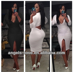 2015 new style Cut Out Longsleeve Clothing Bodycon Bondage Clubbing Party mature women Sexy short Mini Dress