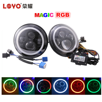 "Only made by LOYO 7inch 7 inch round RGB halo ring led headlight 7"" magic rgb headlight for Jeep"