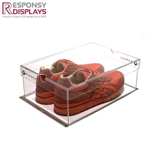 Custom total transparent clear acrylic shoe display box with logo