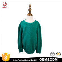 Customized color baby boy solid round neck blank basic cotton knited pullover sweater design