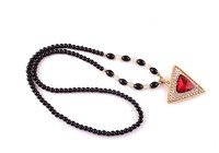 fashionable long black pearls beaded crystal triangle shape pendant necklace