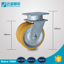 Heavy duty bearing swivel 16 inch 10 ton top plate dual PU on iron castor