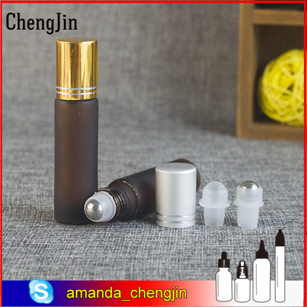 Hot sale fancy 10ml frosted clear amber blue roll on glass bottle for perfume essential oil