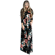 Women Summer Black O Neck Printing Designer One Piece Dress Western
