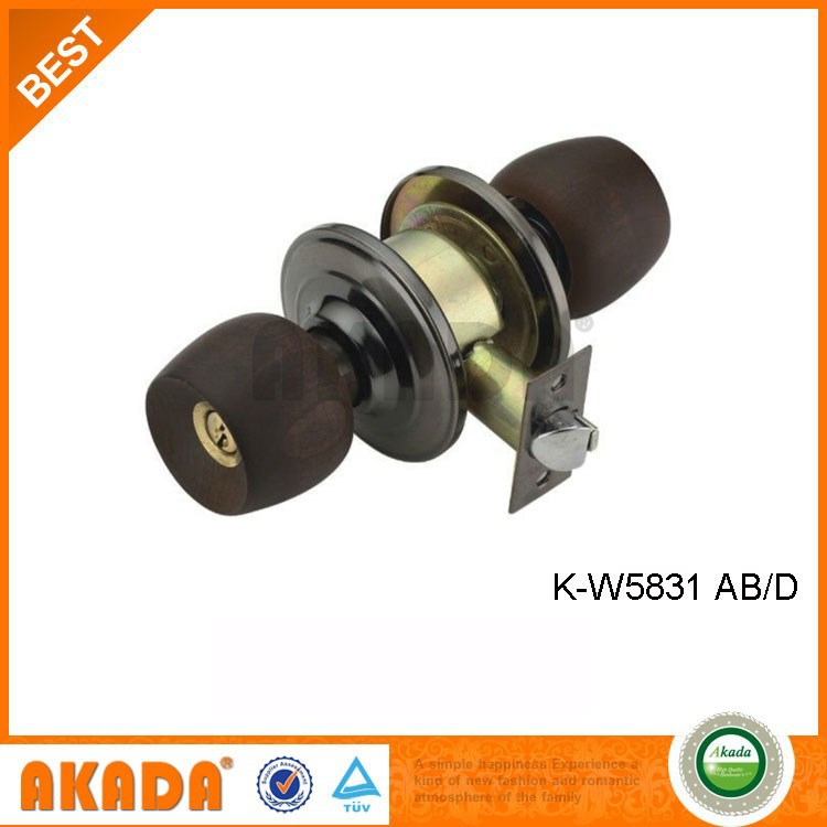 Cylindrical Wood Door Knob Lock One Side Key One Side Button