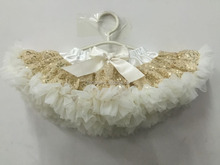 Gold Sequins Pettiskirt Baby Toddler Skirt baby Girls Ivory tutu Lace Petti 1st Birthday Tutu Sequin tutu Skirt