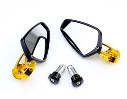 Gold 7/8 Universal CNC Billet Aluminum Bar End Motorcycle Mirrors Rearview New