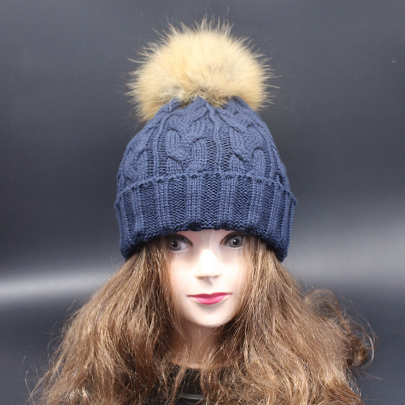 A1 warm knitted hat and scarf with fur balls winter