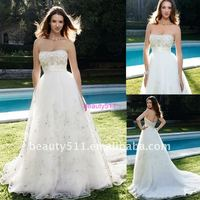 Latest Fashion Ball Gown Sweetheart Embroidery Net wedding dress AS035