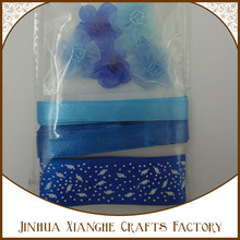 Factory Price Blue Color Recycled Silk Sari Ribbon For Crafts With Button