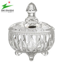 High quality crystal footed glass sugar candy jar with glass lid