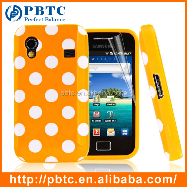 Set Screen Protector And Case For Samsung , Polka Dots Silicon Case Cover For Samsung S5830 Galaxy Ace