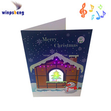 Voice recordable Musical Merry Christmas Greeting Card With fiber optic LED Lights
