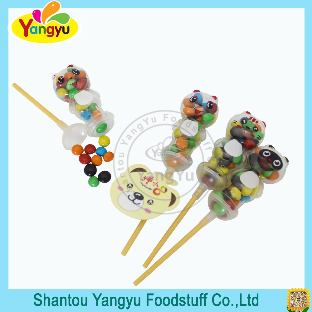 Funny bear lolly crispy coated chocolate beans