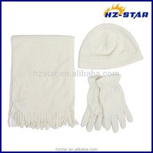 HZW-14217001 Pure Color Wholsale Winter Fleece Scarf Hat Gloves Polyester Sets