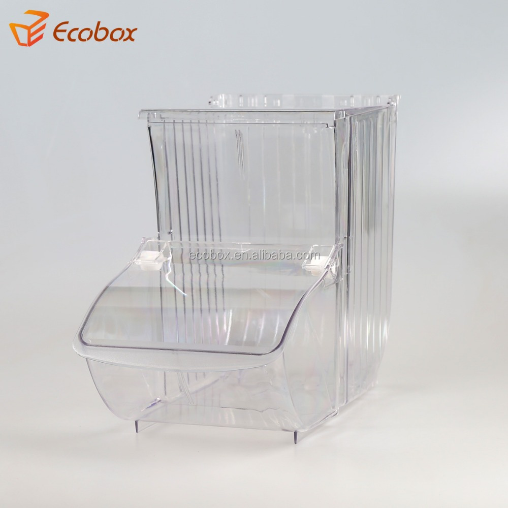 Custom Clear Stackable Acrylic bulk food dispenser candy Bin Dry Food Dispenser