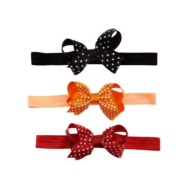 Hot-sales fashion sweet 4 inch hair band with printing dot ribbon hair bow for handmade baby hair band