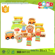 Indians Theme 100% Solid Wooden Block 20 Pc Wood Building Block Set