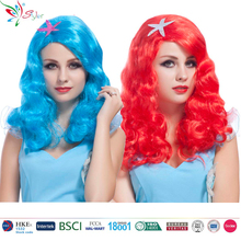 synthetic fibre long curly blue and pink cosplay party little mermaid wig