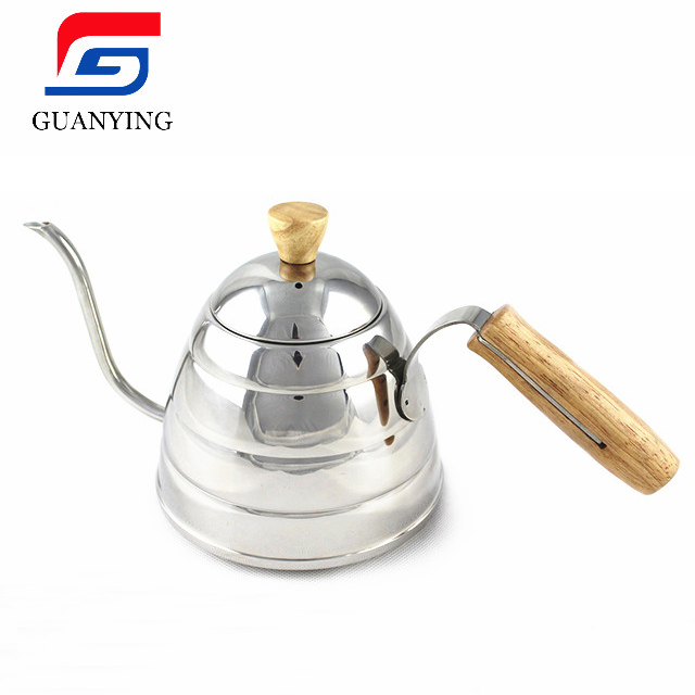 Stainless Steel Brew Kettle for Making <strong>Coffee</strong>, Bamboo handle <strong>coffee</strong> drip pot