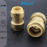 aluminum straight coupling brass push fit fitting, Use on PEX, CPVC or Copper Pipe