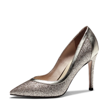 Leather Women Glitter Silver High Heel Shoes Pumps Elegant Office Lady Shoes