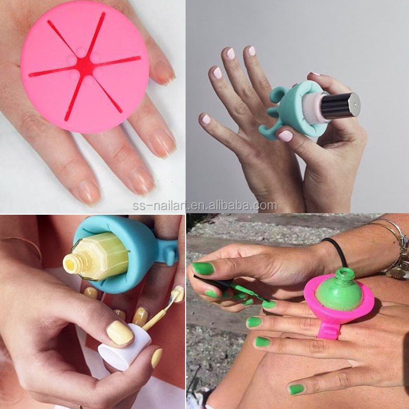 silicone hand nail gel polish anti-fall ring holder