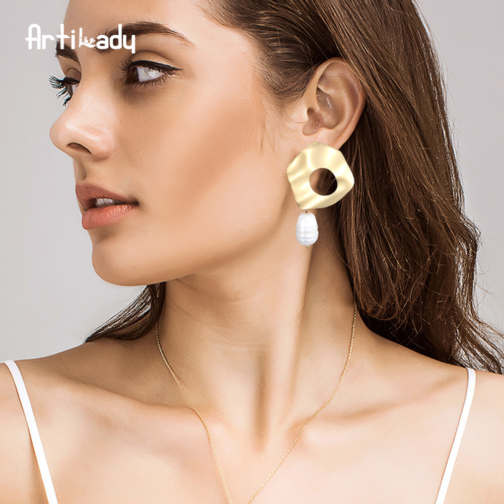 Artilday korean earrings wholesale Gold Dangle Freshwater baroque pearl stud earrings for women girls birthday Christmas gifts