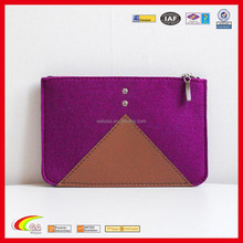 New Design Colorfiled Leahter and Felt Zipper Bag for Ipad, New Style Tablet Zipper Felt Sleeve Case with Lining