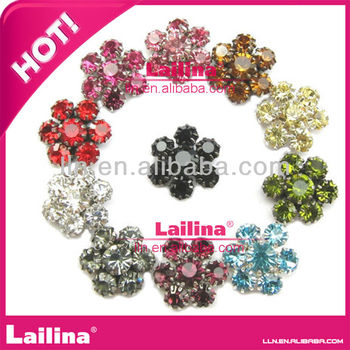 Mini Crystal mix color Pearl Rhinestone Buttons