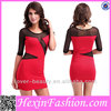 wholesale long sleeve blue and red mixed fitted bodycon dress