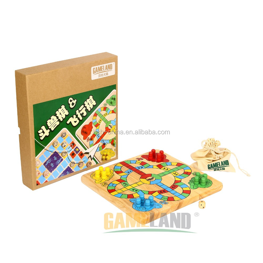 2 In 1 Wooden Game Set Chinese Animinal Checker And Wooden Ludo Game