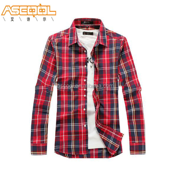 Cheap Washable Mens Plaid Yarn-dyed Casual Long Sleeve Shirt With T-Shirt