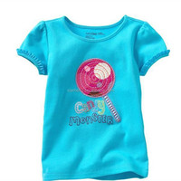 great quality oem service popular design flowers sleeve dark blue blank ruffle sleeve girls t shirt