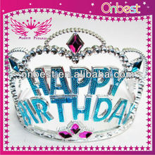 blue happy birthdays party children birthday crown/party tiara/princess crown