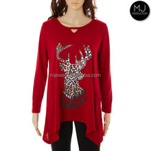 Christmas Reindeer Letter Printed Blouse