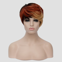 New Stylish Women Synthetic Short Fluffy Hair Black Red Blond Ombre Cosplay Multi-Color Halloween Wigs