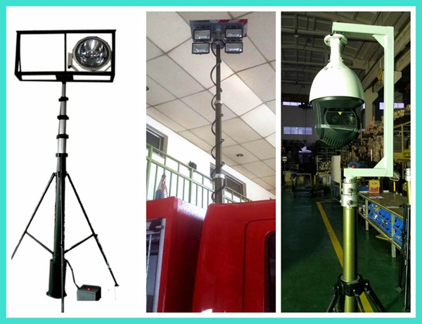 15 foot large trailer gsm telescopic mast microwave antenna tower