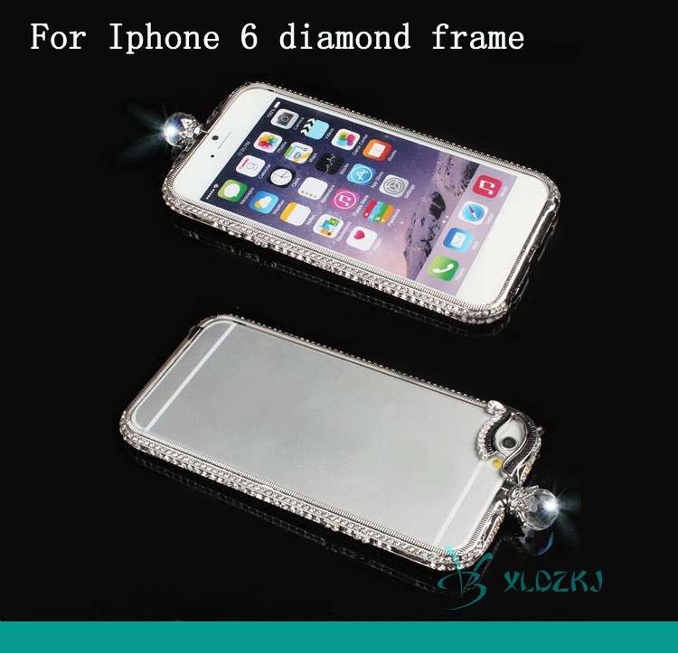 Luxury Bling Glitter Metal Diamond Case For IPhone 6 6 Plus Rhinestone Shining Crown Style Bumper Case Frame For IPhone Cover