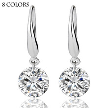 High Quality Big CZ Diamond Silver Plated Single Stone Wedding Jewelry Dangle Earrings for Engagement