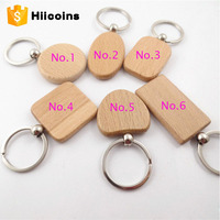 Cheap Wholesale promotional wooden keyring customize printing carving logo blank wood keychain