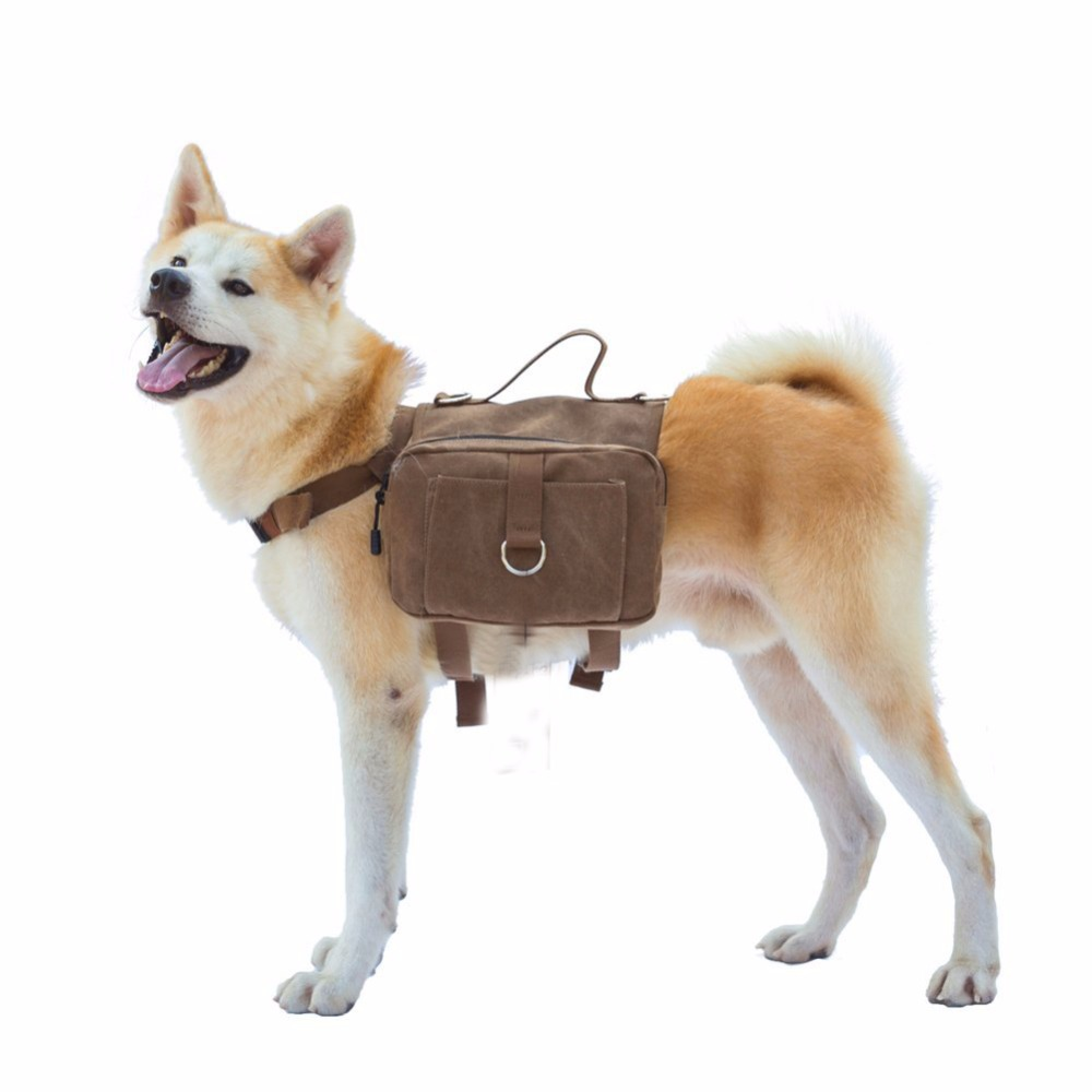 Cotton Canvas Outward Pet Dog Pack Travel Camping Hiking Saddle Bag