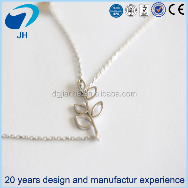 Wholesale necklace jewelry 925 sterling silver sweet hollowed-out leaves branches and bird pendant necklace