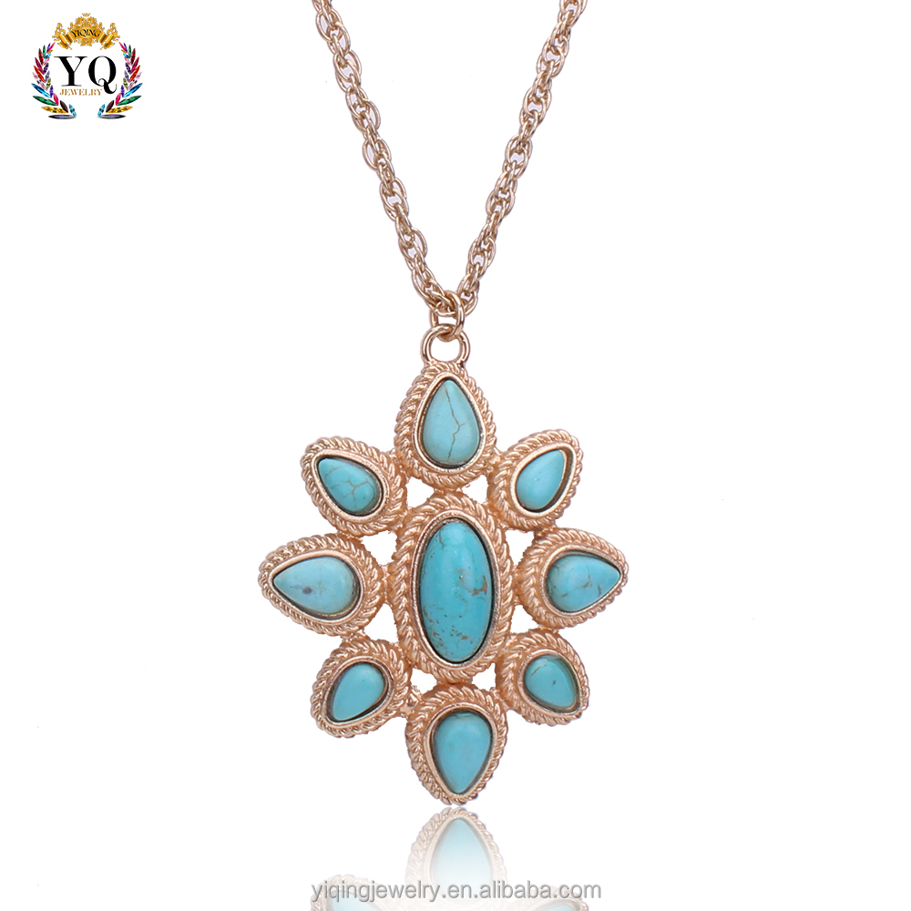 PYQ-00072 Thailand Budda elegant fake gold plated turquoise pendant necklace