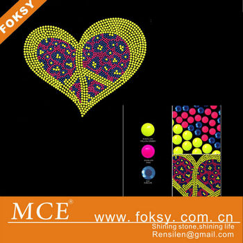 hot sale hot fix neon nailhead heart motif heat transfer - FOKSY