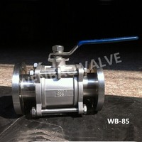 (WB-85) PN40 Casting 3pc DIN Flanged Ball Valve with ISO 5211 Mounting Pad