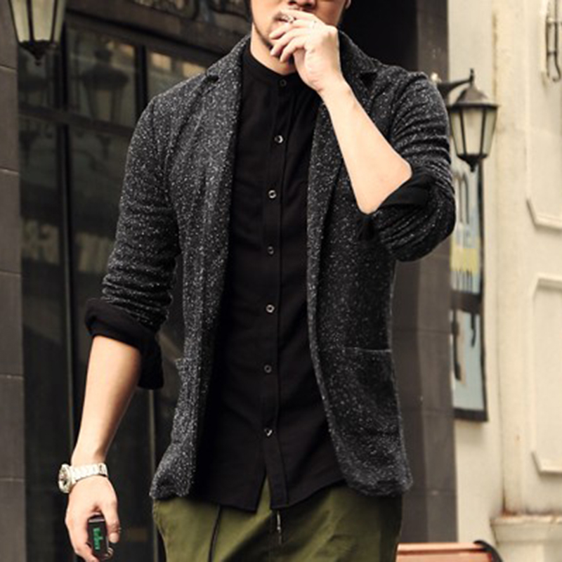 2017 Casual Men Knit suit Blazer business Slim Costume Homme Blazer Masculino Male Woolen Suits vintage Jacket coat one button