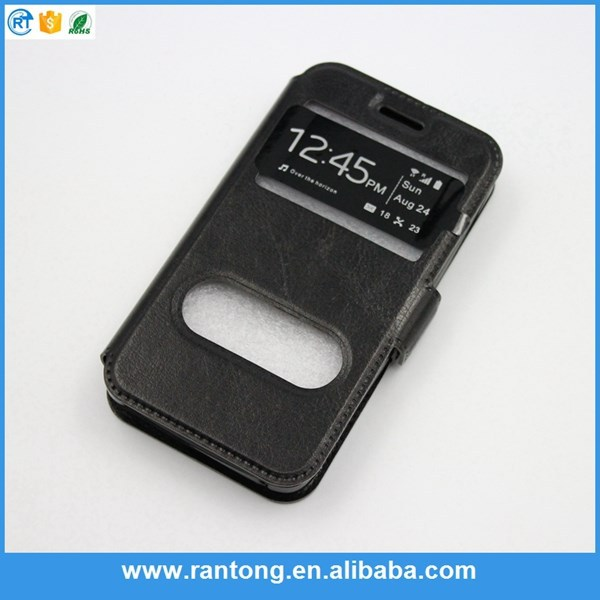 Double Window Flip Cover Leather Case For iPhone 4