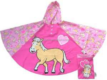 Horse Pattern Cute Pink Carry Easy Kids Rain Poncho