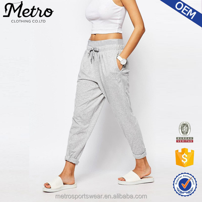 100% polyester ladies casual grey summer wholesale Harem Sweat Pants